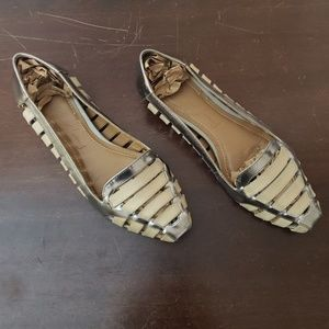 Elizabeth and James Silver/Cream Gemma Flats